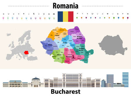 Romania countries colored by regions map. Flag of Romania. Bucharest cityscape. Vector illustration