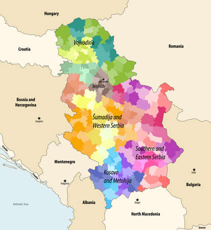 Districts (and municipalities) of Serbia colored by statistical regions vector map with neighboring countries and territories Stock Illustratie
