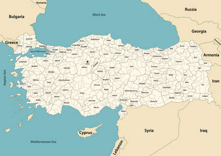 Turkey provinces and districts vector map with neighboring countries and territories