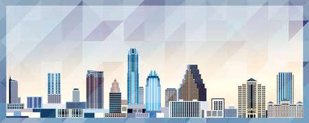 Austin skyline vector colorful poster on beautiful triangular texture background Vector Illustration