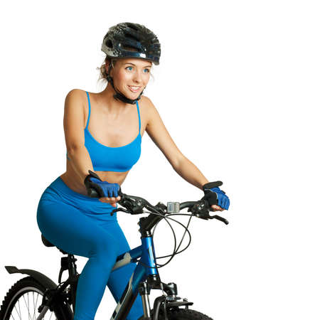 A young attractive woman with bicycle  Healthy lifestyle  Stock Photo