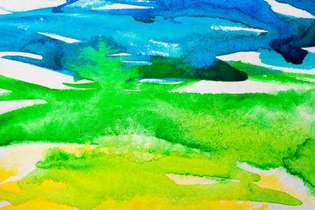 Abstract colorful watercolor background associated with spring photo