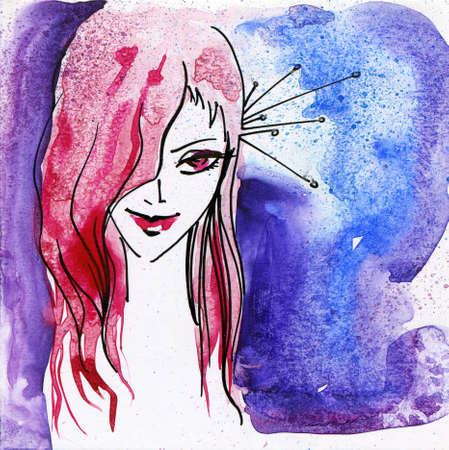 Hand Painted Illustration of a Young Girl Stock Photo