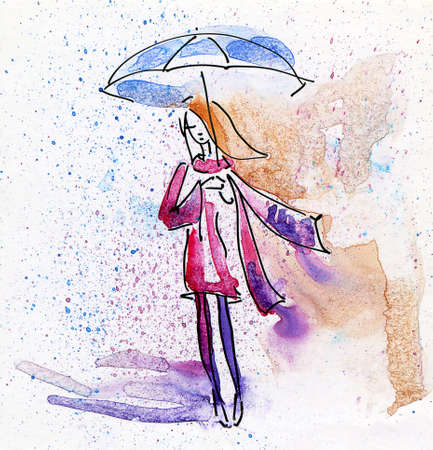 watercolour paintbrush: Hand Painted Illustration of a Young Fashion Girl in the Rain Stock Photo