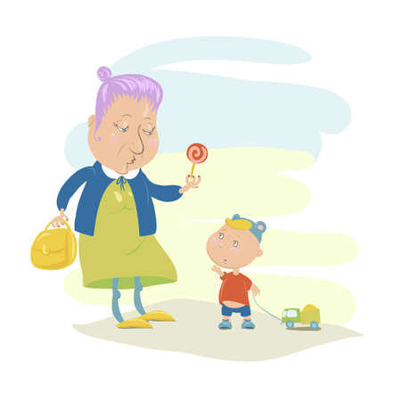 Funny Illustration of Grandmother and her Grandson