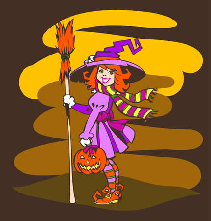 Cute Witch with Pumpkin and Broom  Halloween Concept  Vector