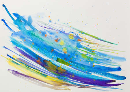 aquarelle: Abstract Aquarelle Illustration with Lines in Blue Color