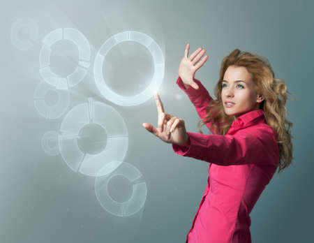 Perfect IT Concept  Copy-space  Touch Screen Visualization  Focus on Hand  Stock Photo