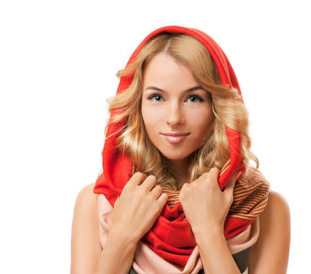 red scarf: Beautiful Blonde Woman Wearing Colorful Infinity Scarf  Isolated on White  Stock Photo