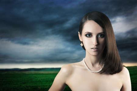 Beautiful Fashion Girl on Nature Background Stock Photo - 16972339