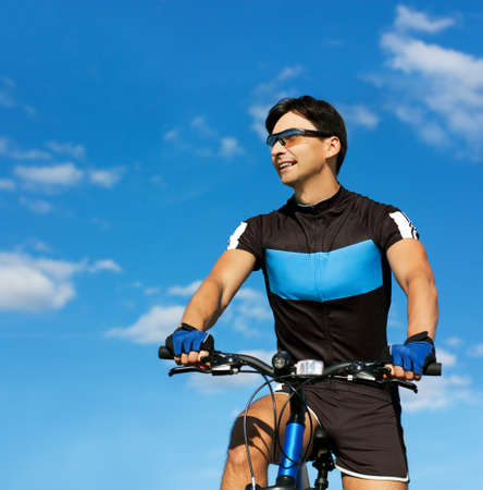 Young Man On Bicycle  Healthy Lifestyle Concept  Copy space