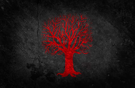 Red Painted Tree on Dark Concrete Wall Background  Beautiful Grunge Wallpaper  photo