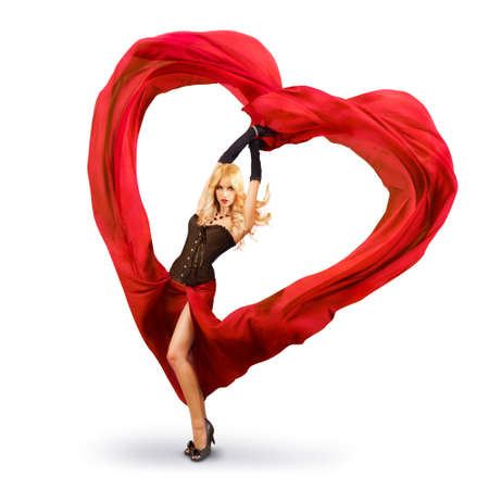 Sexy Woman Dancing With Red Fabric in Heart Shape  Beautiful Love Concept for St  Valentine s Day