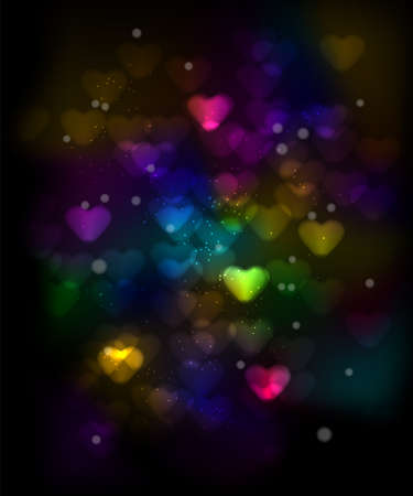 Sparkling Valentine's Day Background with Colorful Hearts Stock Vector - 17334991