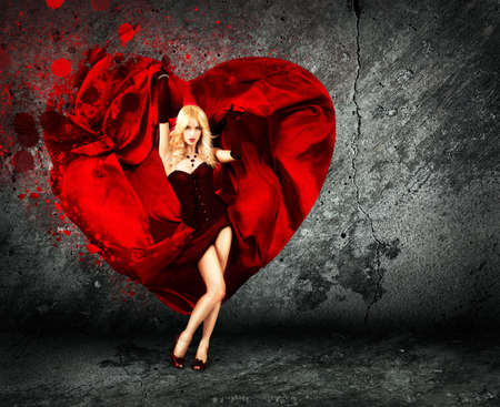 Sexy Woman with Splashing Silk Heart   Beautiful Love Concept for St  Valentine s Day