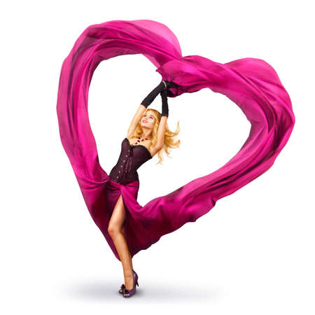 Sexy Beautiful Woman Dancing With Waving Fabric Stock Photo - 17501773