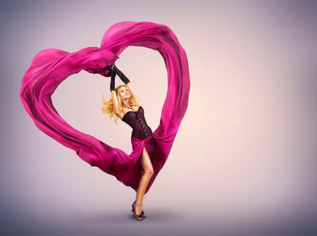 Sexy Beautiful Woman Dancing With Waving Fabric Stock Photo - 17501774