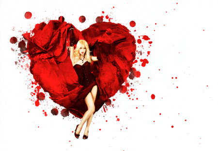 Sexy Woman with Splashing Silk Heart  Beautiful Love Concept for St  Valentine s Day  Stock Photo
