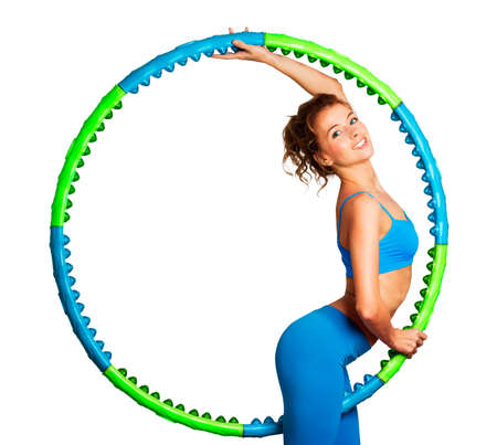 Young Woman with Green and Blue Hoop Isolated on White Stock Photo - 17564215