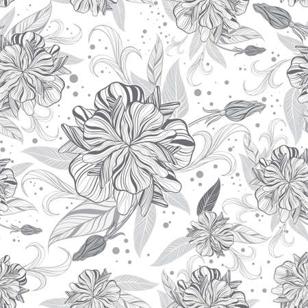 Detailed Seamless Floral Background in Gray  EPS8 Editable Vector Illustration  Stock Vector - 17758604