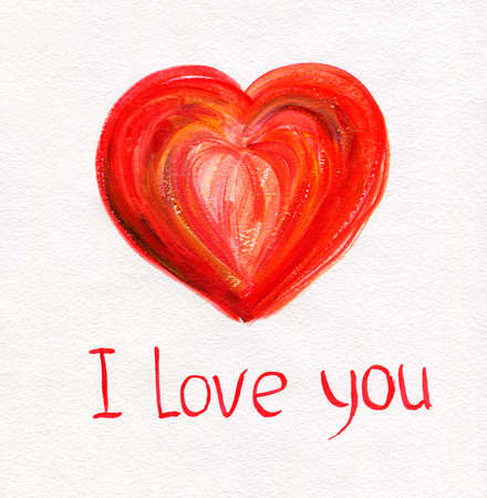 Beautiful Hand Drawn Red Heart on White Paper with I Love You Text  St  Valentine s Day Design  Stock Photo