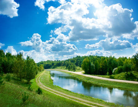 Landscape with River and Beautiful Clouds at Blue Sky