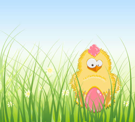 Greeting Card for Easter with Easter Eggs and Greens Vector