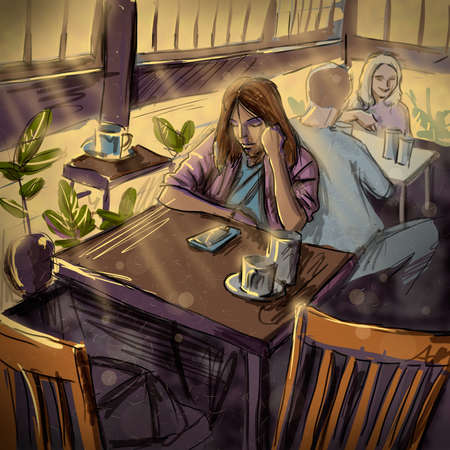 digital art: Woman with a Cup of Tea and Smartphone at a Cafe