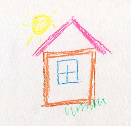 fast drawing: Hand Painted Childish Drawing House on Textured Paper