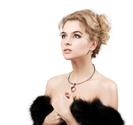 Portrait of Stylish Woman in Fur Isolated on White Stock Photo - 19456685