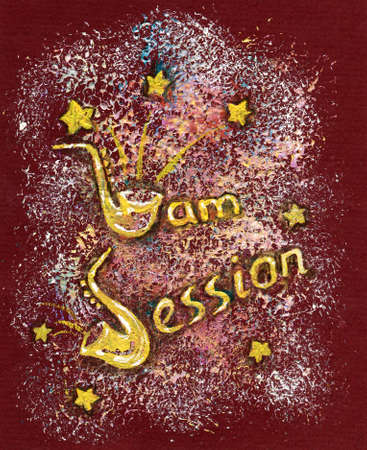 Acryllic Painting with Jam Session Text Made of Saxophone. Vintage Illustration of a Music Environment. illustration
