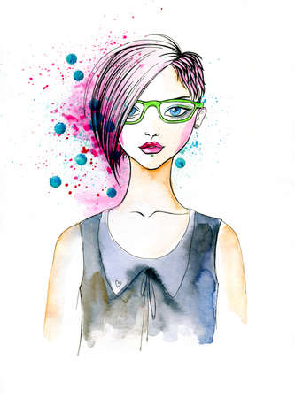 Stylish Illustration of a Girl with Fashionable Hairstyle  Banco de Imagens
