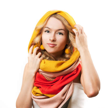 Blonde Woman Wearing Colorful Infinity Scarf. Autumn Fashion. Isolated on White.