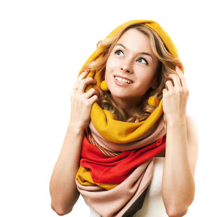 Woman in Colorful Scarf Looking Up  Autumn Fashion  Isolated on White