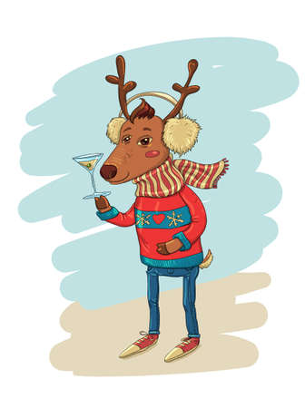 stag party: Funny Illustration with Trendy Hipster Deer Illustration
