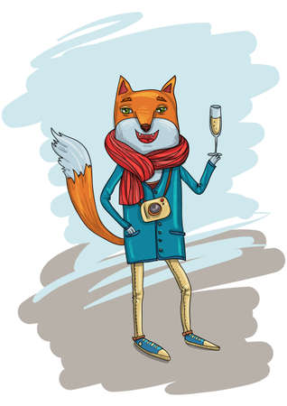 indie: Funny Illustration with Trendy Hipster Fox