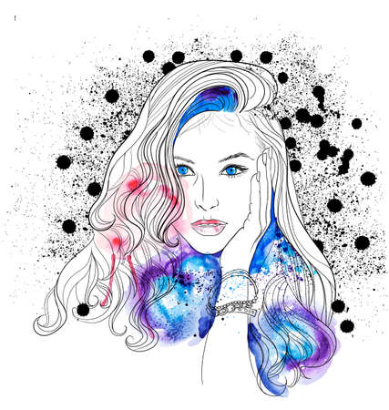 Beautiful Woman Face and Watercolor Vector