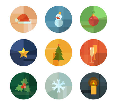 Colorful Trendy Icon Set  Christmas  New Year