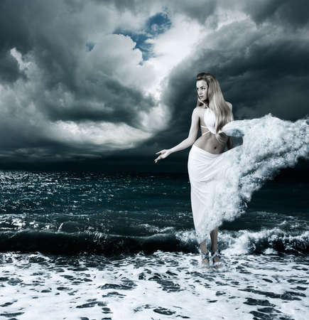 aphrodite: Woman in Splashing Dress Walking on Stormy Sea  Aphrodite Godess Collage