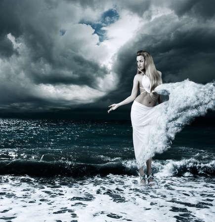 venus: Woman in Splashing Dress Walking on Stormy Sea  Aphrodite Godess Collage
