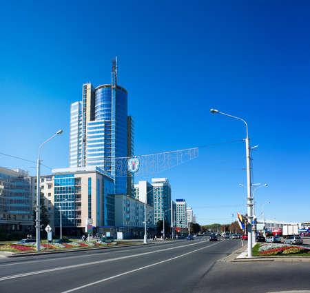 Pobediteley Avenue  Praspyekt Pyeramozhtsaw or Praspiekt Pieramozcau  in Minsk, Belarus  View of Central Street  Winners Avenue   Stock Photo