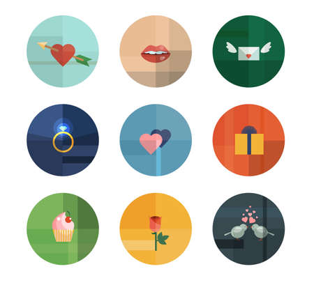 cartoon lips: Colorful Trendy Vector Icon Set. Valentines Day Concept