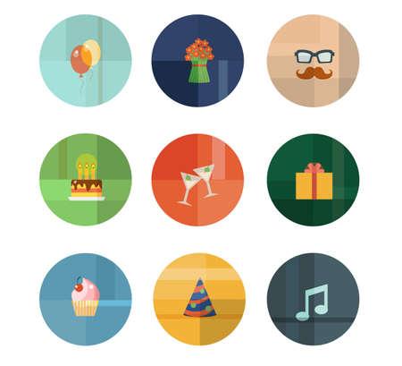 カラフルなトレンディなベクトル アイコンを設定します。誕生日パーティーのコンセプト
