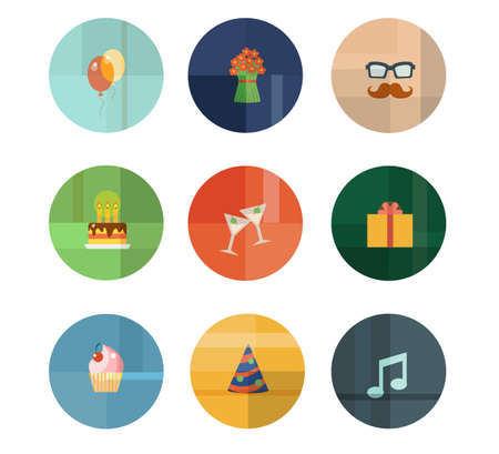 Colorful Trendy Vector Icon Set. Birthday Party Concept Illustration
