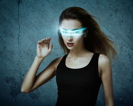 Fantastic Woman Using Virtual Glasses. Perfect IT Virtual Reality Concept.