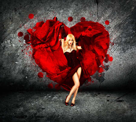 Sexy Woman with Splashing Silk Heart  Beautiful Love Concept for St  Valentine Stock Photo
