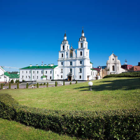 Holy Spirit Cathedral in Minsk, Belarus. View of Main Orthodox Church in Historical Center (Nemiga).