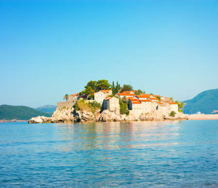 Sveti Stefan Island in Montenegro  Balkans, Adriatic Sea  European Summer Resort  Copy Space