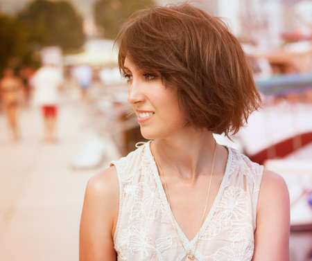 Toned Photo of Trendy Young Woman with Bob Hairstyle. Shallow Depth of Field.