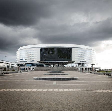 Minsk Arena in Belarus  Ice Hockey Stadium  The Venue for 2014 World Championship IIHF  Copy Space